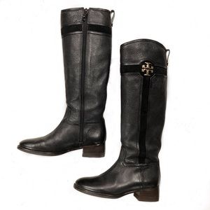 Tory Burch Alaina Logo Riding Boots Black Size 6